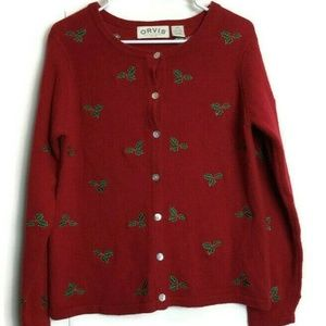 Orvis Wool Pointsetta Christmas Sweater